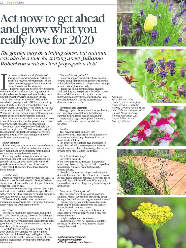 2020 planting plans feature for Beautiful Homes, The Courier, October 2019
